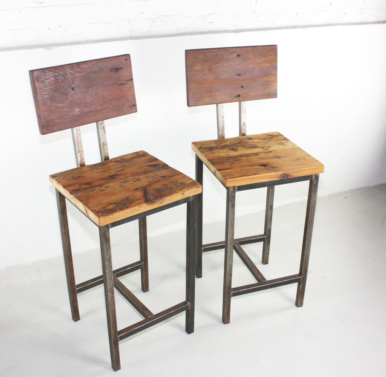 Reclaimed Wood Bar Stools ~ Rustic reclaimed wood pine bar stools with hand welded steel