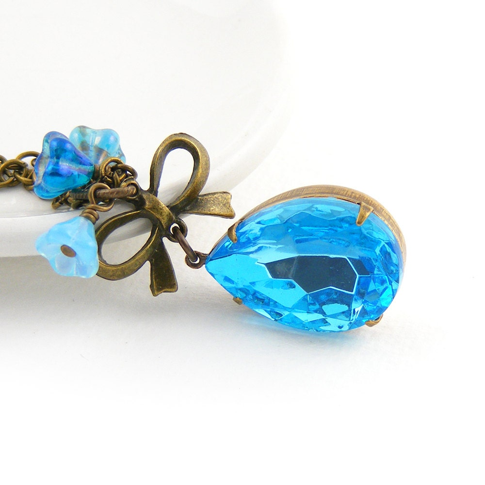 Aquamarine Pendant, Great Gatsby Style Blue Crystal Pendant, Vintage Inspired Necklace