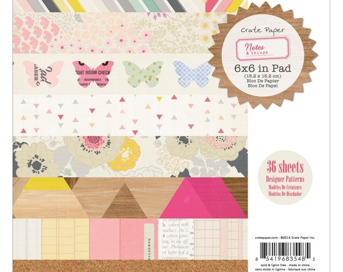 Crate Paper NOTES & THINGS 6x6 Scrapbook Cardstock Paper Pad - Great for mini albums and card making!