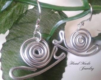 Aluminum Wire Earrings   Handmade Snail Spiral