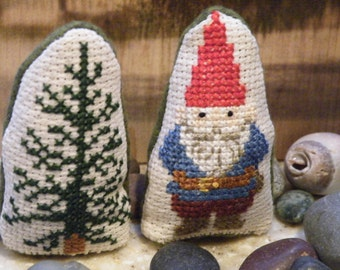 Cross Stitch Free Standing Gnome and Tree: Gerwin the Woodcutter