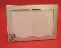 """Line Dancing Country & Western Picture Frame 4"""" x 6"""" With Hand Cast Pewter Motif Rodeo, Line Dancing Gift"""