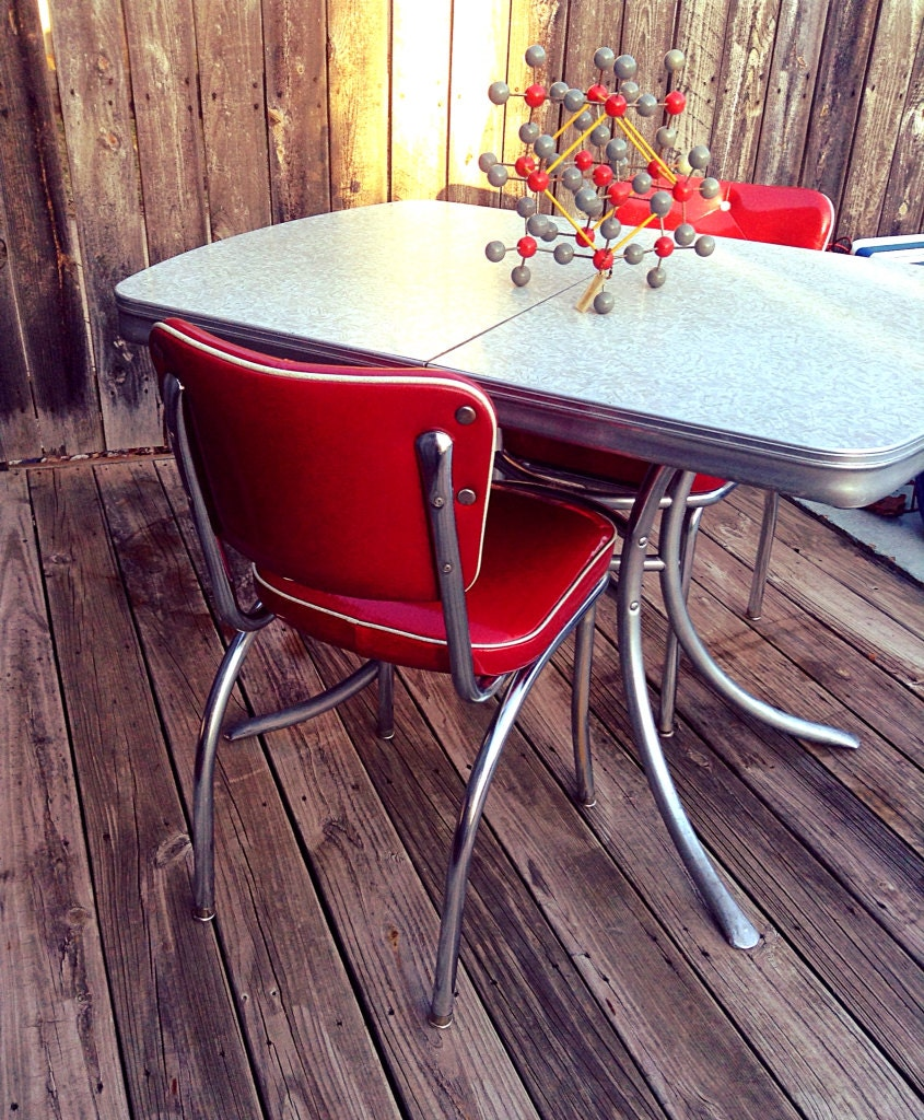 1950 S Refurbished Grey Mother Of Pearl Formica Dining By