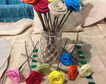 Burlap  Rosettes With Twig Stems - Flower Rose Wedding - Wedding Bouquet- Rustic Wedding