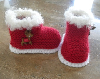 Knitting Pattern Baby Christmas Boots/Booties Quick and
