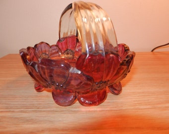 Retro Red Glass Basket - Glass Candy Dish - Thick Glass - Estate - 65 yrs.old