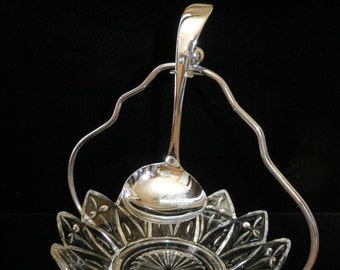 Crystal and Silverplate Relish Dish with Serving Spoon