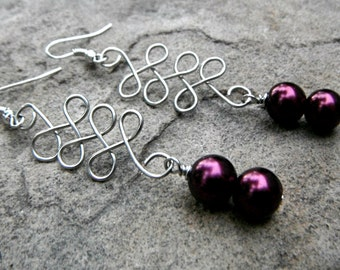 Purple Pearl Earrings, Purple Earrings, Celtic Earrings, Chunky Earrings, Wire Earrings, Wire Wrapped Jewelry Handmade, Purple Bead Earrings