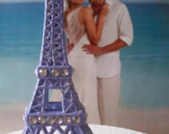 Beautiful Lavender / Purple Paris Eiffel Tower/ Rhinestone Cake Topper  5 1/2 inches tall  Newburystreetchic  We Ship Internationally