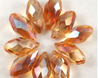 Chinese Crystal Briolette 6X12mm-10 pieces-Topaz AB (MWBRTA)