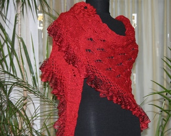 Crochet Shawl/Knit Shawl/Red Shawl/Triangle shawl