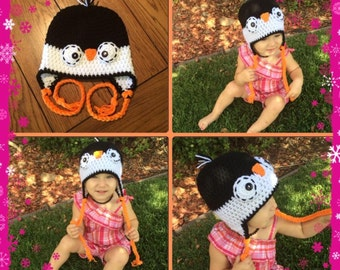 Crochet Penguin Hat Infant Photo Prop Costume