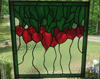 Stained Glass Bunch of Radishes...Summer Garden Memories