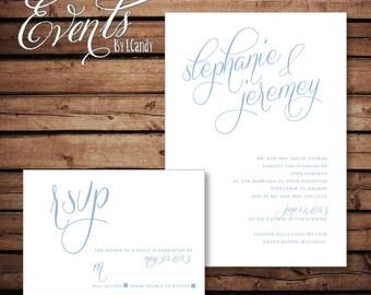 PRINTED Wedding Invitation - sky blue invitation & rsvp