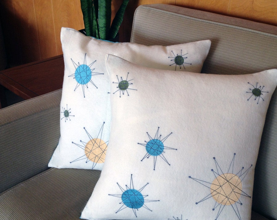 Modern Pillows Etsy : Mid-Century Modern Pillows with Embroidered by MidModMade on Etsy