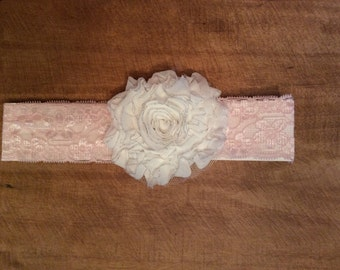 Pink Lace headband with white shabby chic flower