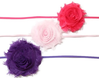Buy 2 Get 1 FREE!! Skinny Flower Elastic Headband or Clip, Many Color Choices, Makes Great Photo Prop