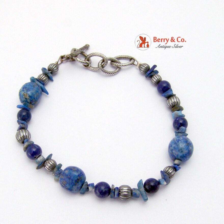 vintage bracelet lapis lazuli and sterling silver by. Black Bedroom Furniture Sets. Home Design Ideas