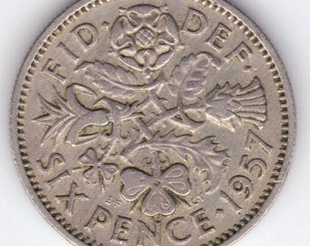 Coin Connoisseur - Great Britain 6 pence coin - lucky six pence - wedding sixpence - circulated
