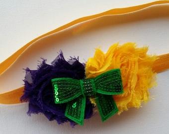 Mardi Gras Shabby Chic flower Headband-Baby-Infant-Toddler-Girl Gift-purple green gold-Elastic Headband-Photo Prop-Hair Accessories