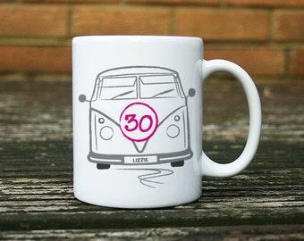 Personalised  Campervan Mug - with name and age