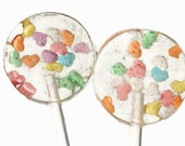 Hearts Wedding Favor Lollipops - Hard Candy with Candy Hearts Sprinkles - 12 Lollipop Pack- Wedding Favors, Party Favors, Valentines Day
