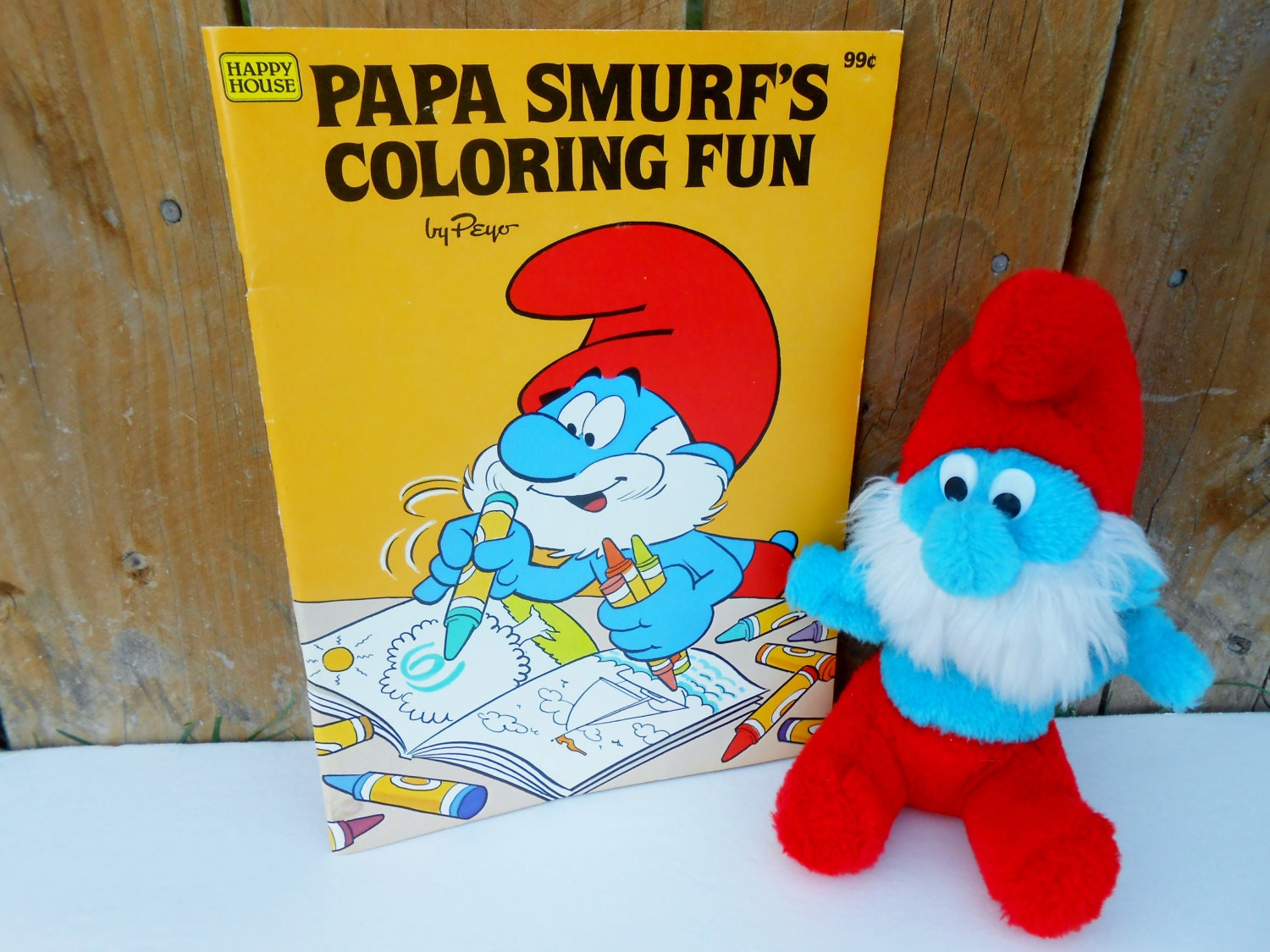Vintage Papa Smurf plush 1981 with Smurf coloring book by