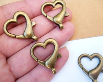Brass Heart Lobster Clasp_Lobster fantasy_of:26x21mm_5 pcs