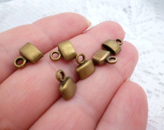 Brass End Cap_End Leather Ribbon_RB_6X3mm_50pcs