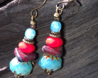 Coral and turquoise dangles
