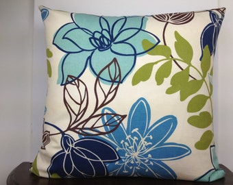 Refreshing Neutral Hued Blue Floral Pillow Cover 20x20 Decorative Pillow Cover, Accent Pillow Cover