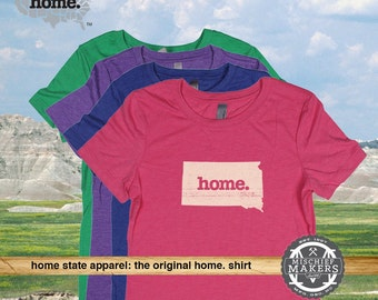 South Dakota Home. tshirt- Womens Red Green Royal Pink Purple
