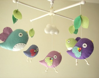 "Baby crib mobile, Bird mobile, felt mobile, nursery mobile, baby mobile,""Bird - Pistachio and Purple"""