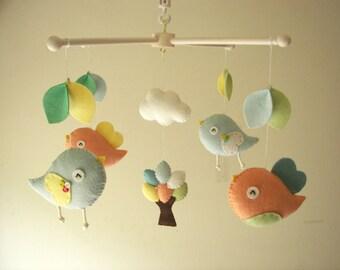 """Baby crib mobile, Bird mobile, felt mobile, nursery mobile, baby mobile,""""Bird - Macaron"""""""