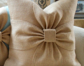 Burlap bow pillow cover in natural burlap 18x18