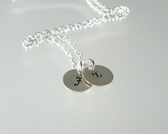 Silver Personalized Charm Pendant Necklace - Two Discs, Silver Necklace, Personalized Jewelry, Initial Jewelry, Bridesmaid Jewelry (N232S.)