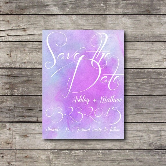 Watercolor Wedding Save The Date Postcard By Bigdayshop On