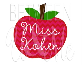 Personalized Teacher Apple Chevron Miss Name Gift Present Iron On Decal Vinyl for Shirt
