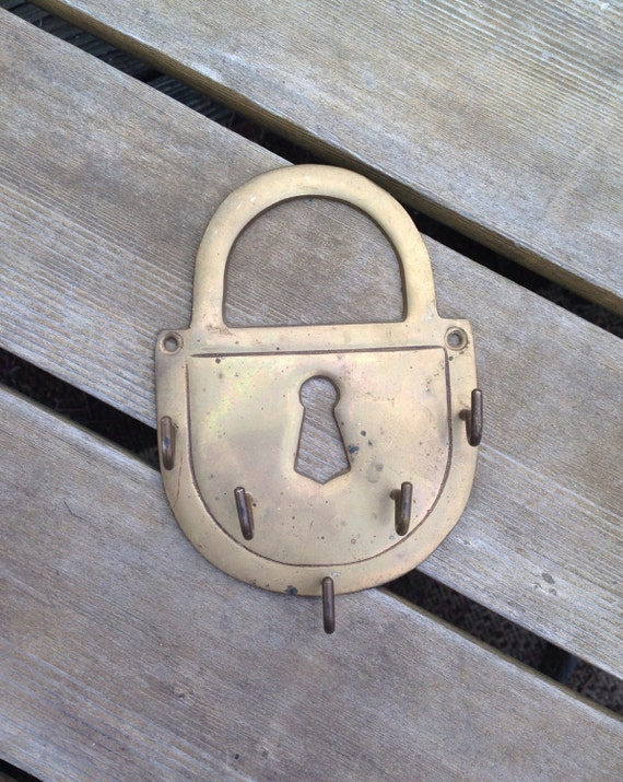Vintage Rustic Brass Pad Lock Wall Mount Key Ring Holder