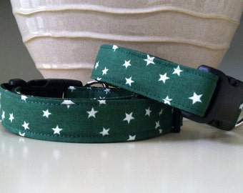 Dog Collar - Dark Green with Stars