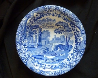 "Vintage 1930's Copeland Spode Blue & White Italian Pattern 9.5"" Serving Bowl"