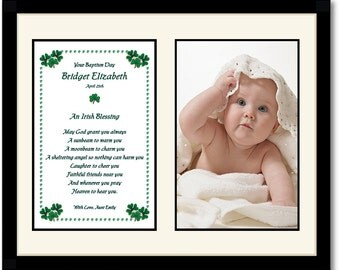 Baptism Gift - Irish Blessing - Poem in Frame with Mat - Add Photo (01-033)