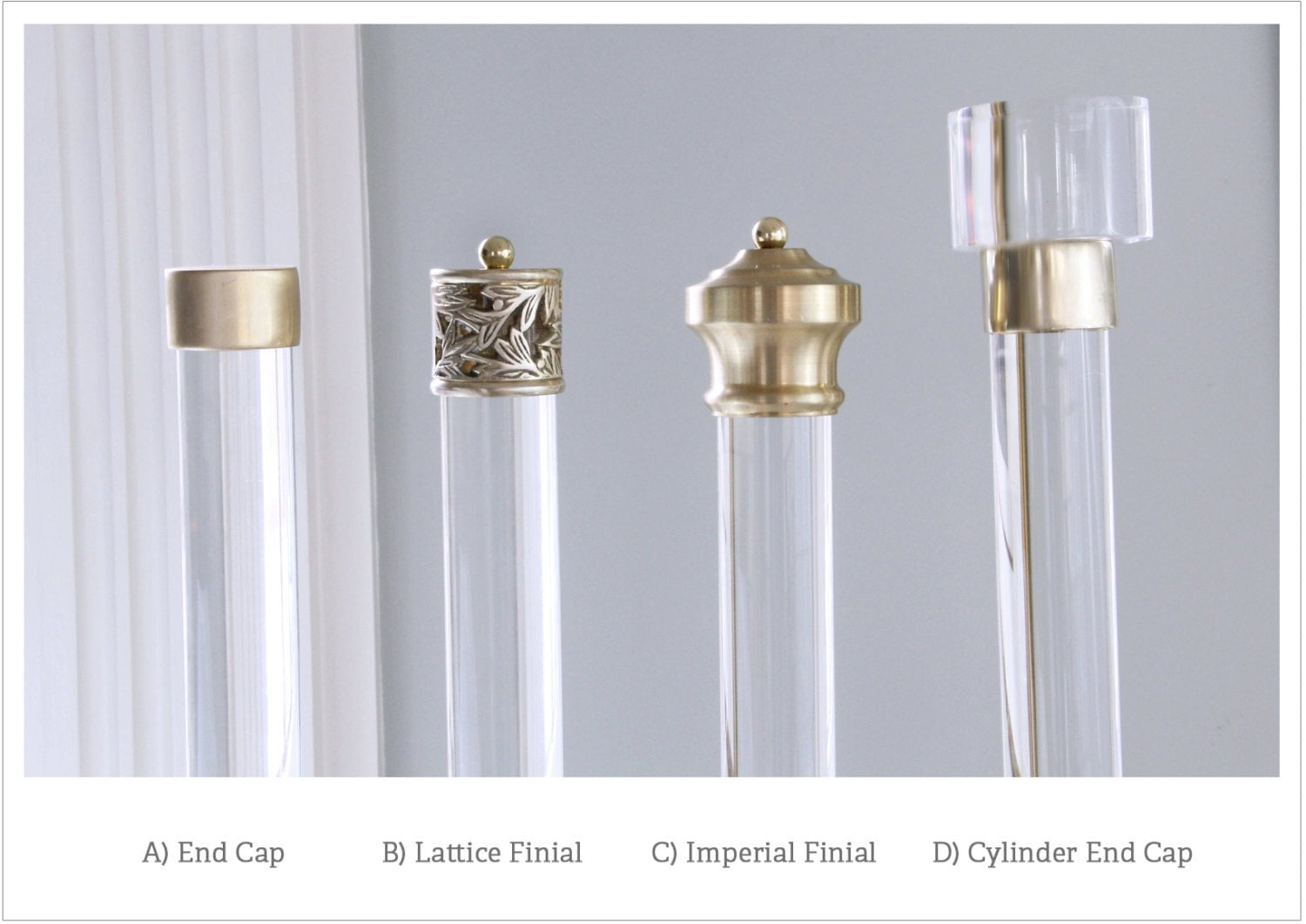 Finial For Lucite Drapery Rod Polished Or Brushed Brass For