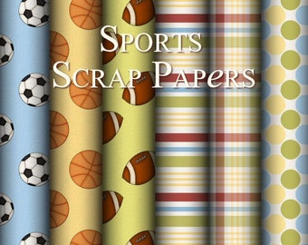 Sports Scrap Background Papers - Sports Themed Digital Scrapbook and Craft Background Papers