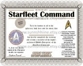 Starfleet Command Certificate (Star Trek, Captain Picard, USS Enterprise, The Final Frontier, Party Favor, Gag Gift, Stocking Stuffer) featured image