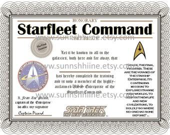 Starfleet Command Certificate (Star Trek, Captain Picard, USS Enterprise, The Final Frontier, Party Favor, Gag Gift, Stocking Stuffer)