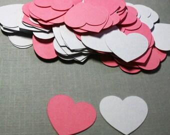 100  hearts confetti, pink and white