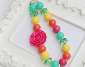 Bright Rose, Hot pink Rose Necklace, Chunky Rose necklace,