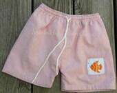 Boutique Boys Smocked Fish Swim Trunks  in Orange/White Seersucker, tee available
