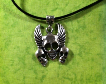 Triple Skull with Wings Necklace